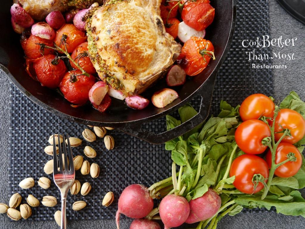 Pistachio Parmesan Stuffed Pork Chops