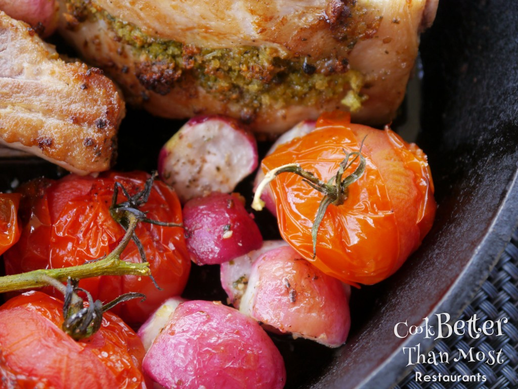 Pistachio Parmesan Stuffed Pork Chops with tomatoe
