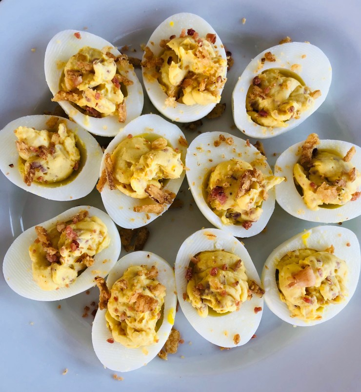 French Onion & Bacon Deviled Eggs