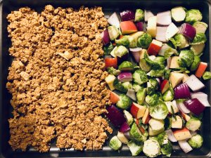 soy maple tofu crumbles with brussels sprouts