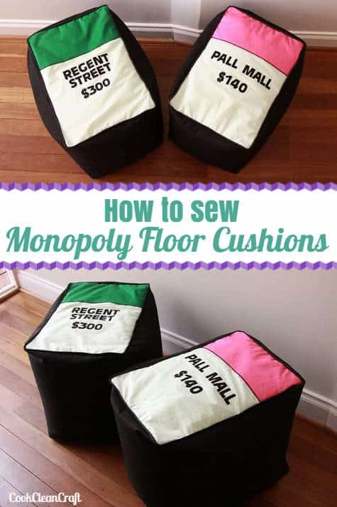 How to sew a monopoly floor cushion or stool. Fun sewing tutorial as part of Sew ready to Play.