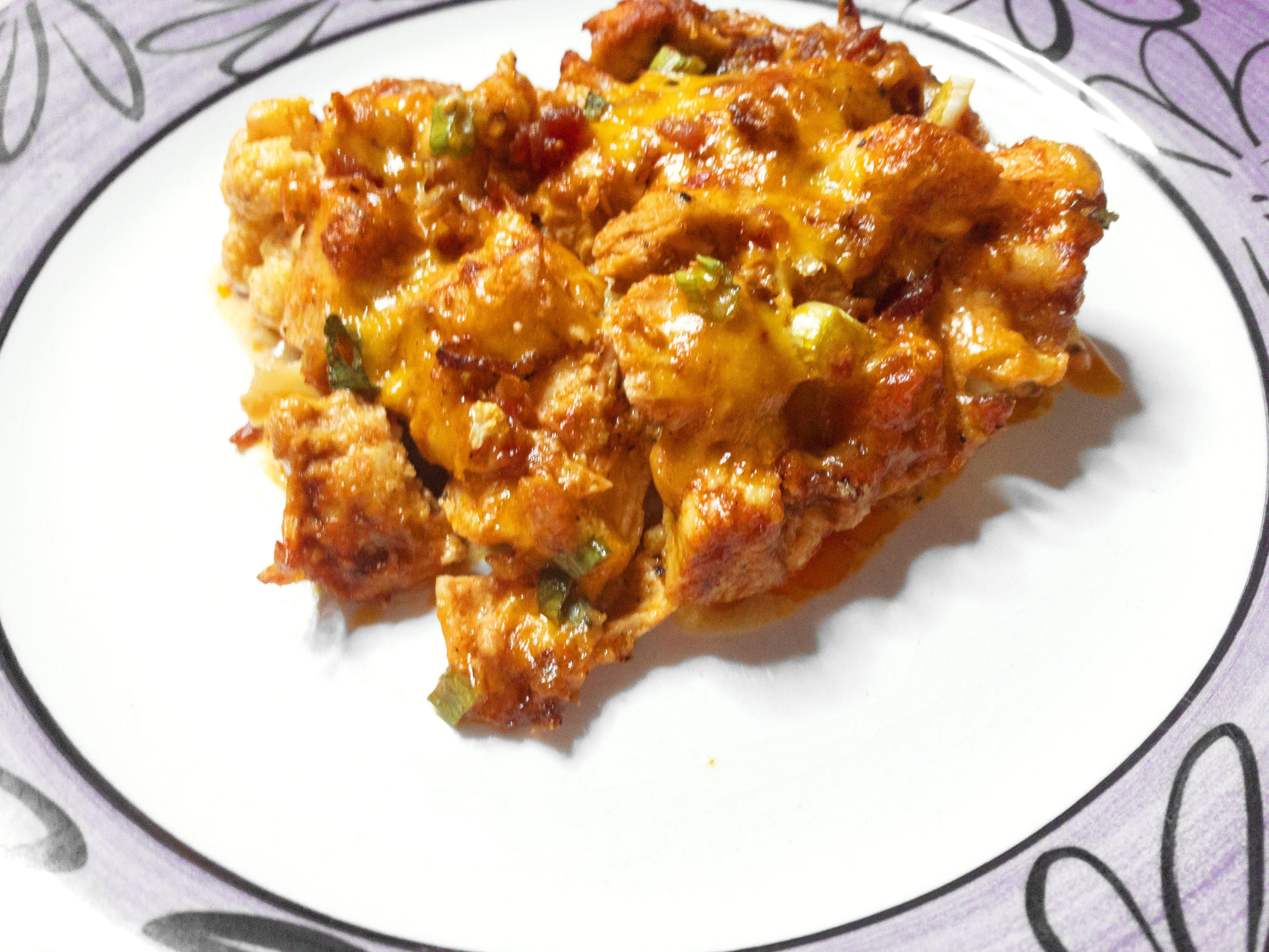 Loaded Cauliflower & Buffalo Chicken Casserole2