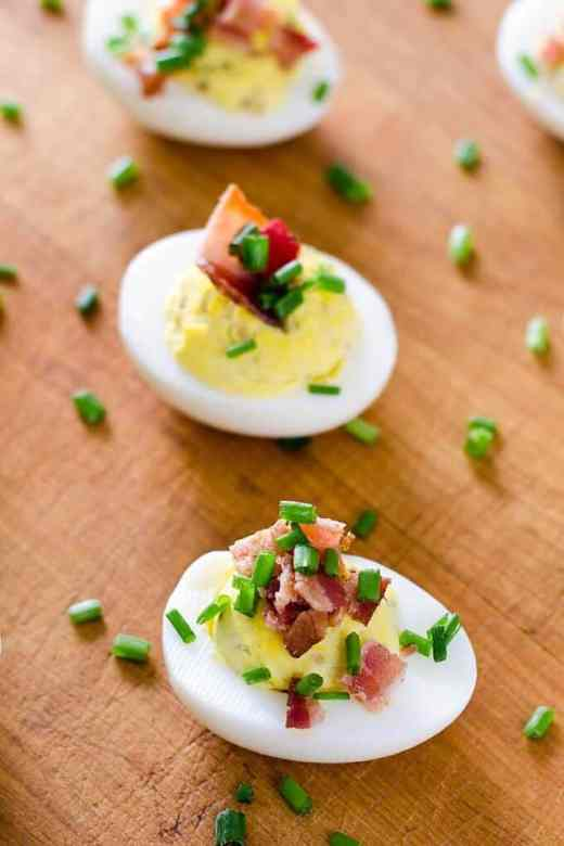 Deviled Eggs with Bacon and Chives by Cook Eat Paleo
