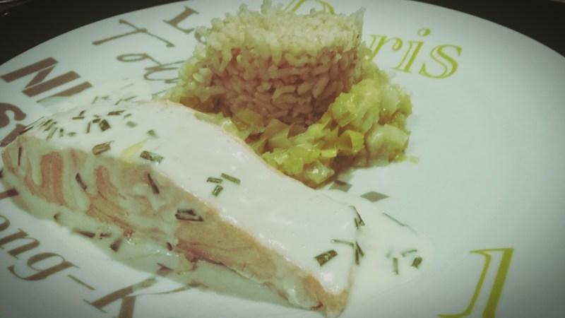 saumon riz poireau