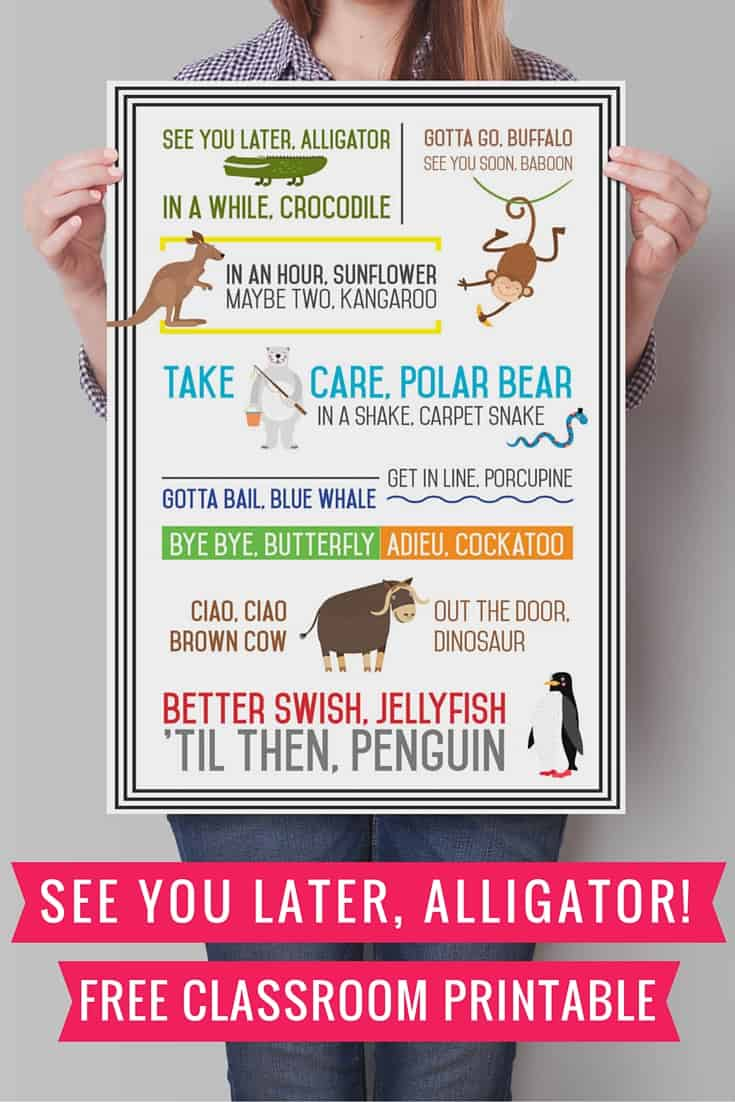 See You Later Alligator Printable