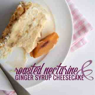 Slice nectarines and roast at 180 for 45mins. Allow to cool, choose 2/3 to puree, reserving the prettier pieces for decorating the top of the cake. Chill. Grease and line a 20cm spring-form pan. Using a food processor, blitz the biscuits to fine crumbs. Add the melted butter and process until combined. Press the biscuit mixture over the base of the pan. Refrigerate. Pour 3tbs boiling water into a heatproof jug and sprinkle the gelatine on the service. Whisk with a fork until dissolved. Set aside. Using an electric mixer, whip 300ml of cream and set aside. Then beat the cream cheese, sugar and vanilla until light and fluffy. Add the ginger syrup and mix until combined. Gradually beat the gelatine mixture into the mix. Fold in the whipped cream. Level the top with a spatula. Cover and refrigerate overnight or until set.