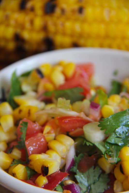 chargrilled corn salsa, salad, corn, salsa, mexican