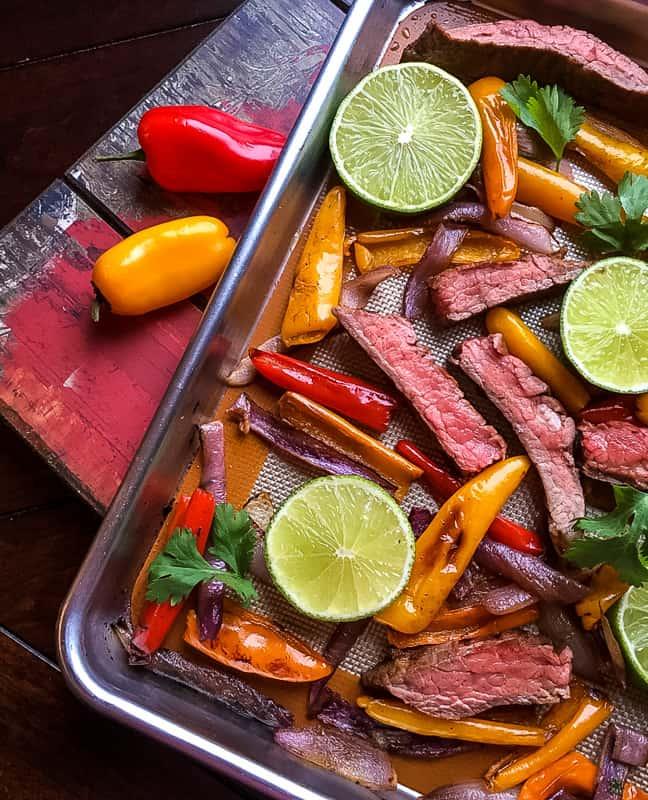 fajita tray bake, beef fajita recipe,