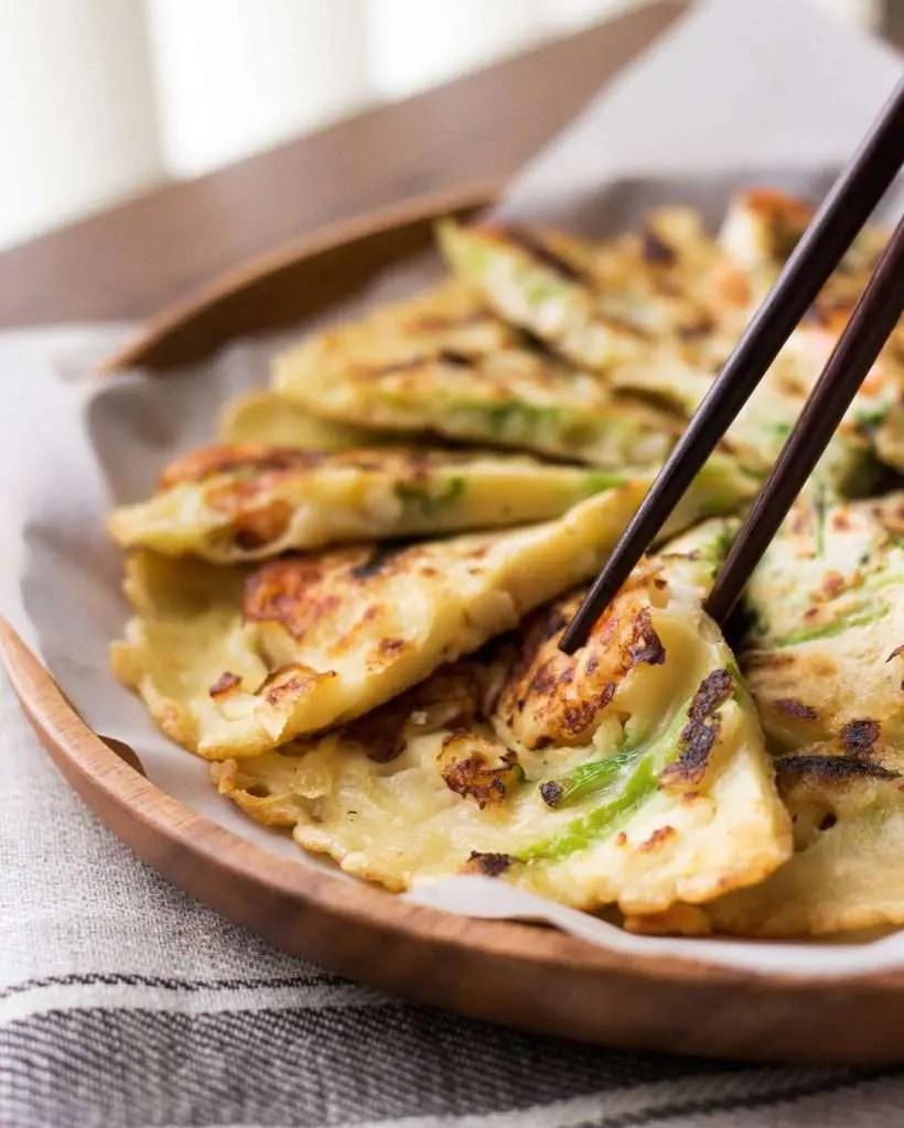 close-up photo of korean seafood pancake