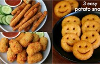 3 easy potato snacks recipe for kids – potato fingers, potato nuggets – potato smiley recipe