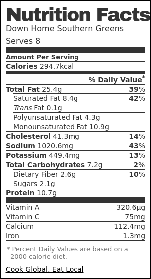 Nutrition label for Down Home Southern Greens