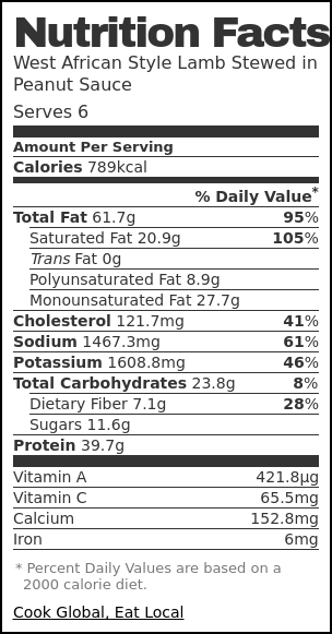 Nutrition label for West African Style Lamb Stewed in Peanut Sauce