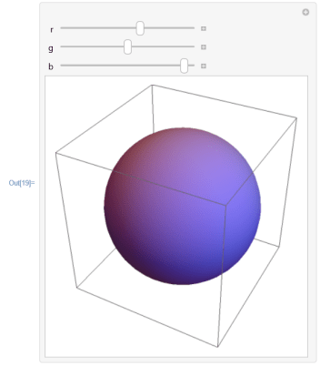 Manipulate the RGB colors of a sphere
