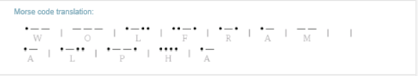 Actual resulting Morse Code