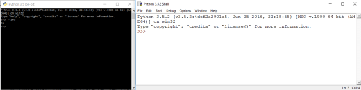 Developing Python can either be done in a Python shell (left) or IDLE (right)