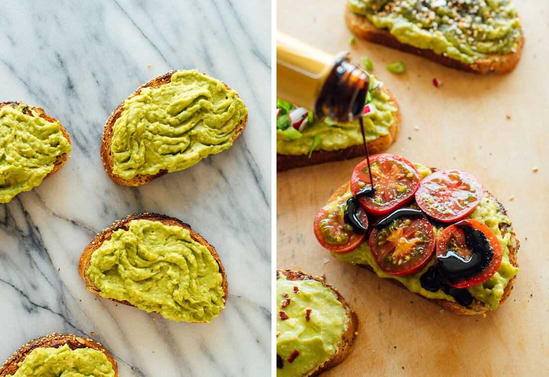 Avocado toast with balsamic drizzle