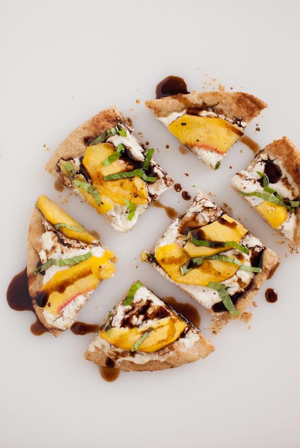Easily Entertained - Peachy Recipes - Peach Basil & Ricotta Flatbread