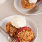 peach crisps topped with ice cream