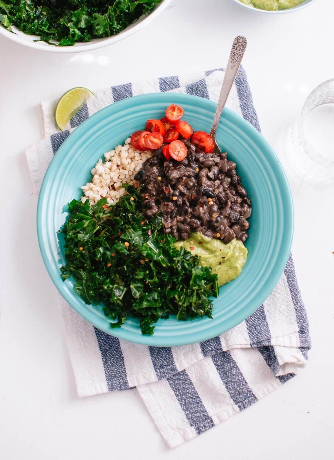 Kale, black bean and avocado burrito bowl recipe