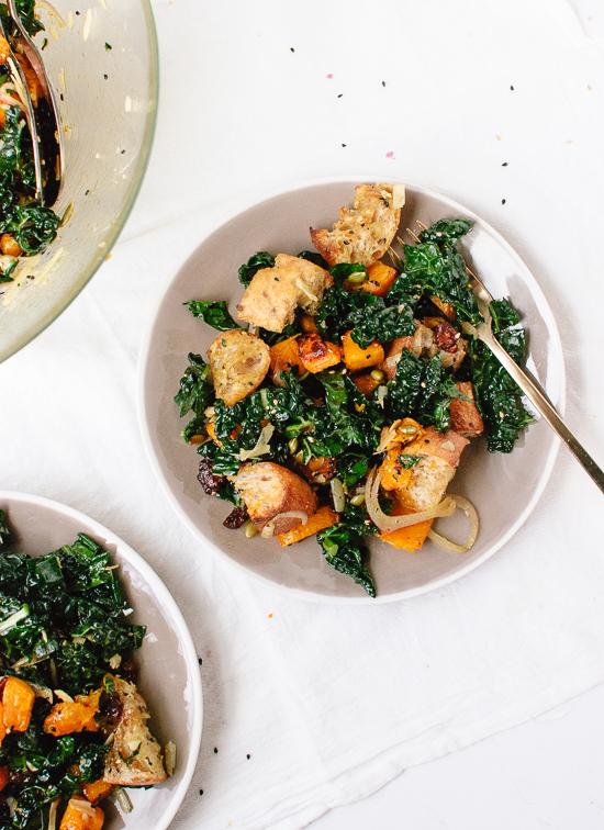 Wintery butternut kale panzanella salad - by @cookieandkate
