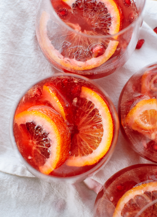 Blood orange and pomegranate sparkling sangria (perfect for the Super Bowl and Valentine's Day!) - cookieandkate.com