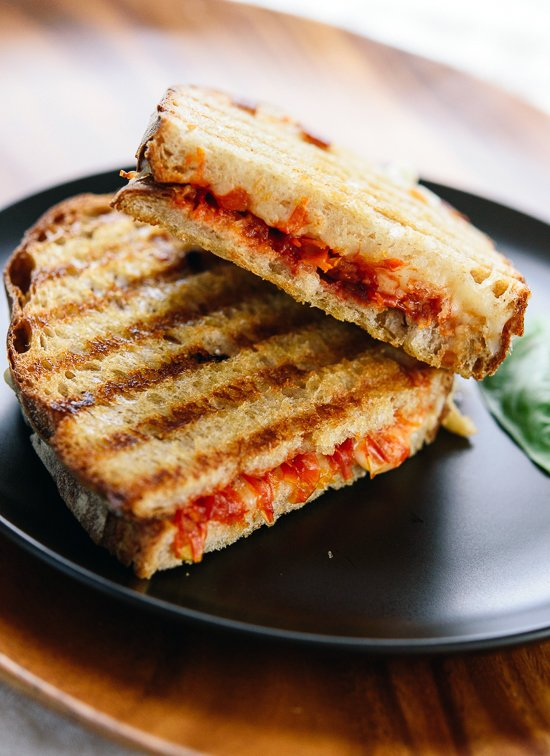 Tomato jam panini with mozzarella and basil! cookieandkate.com