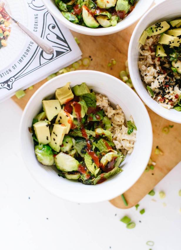 Quick Brussels sprouts and coconut rice recipe with a spicy, Thai-flavored soy sauce! cookieandkate.com