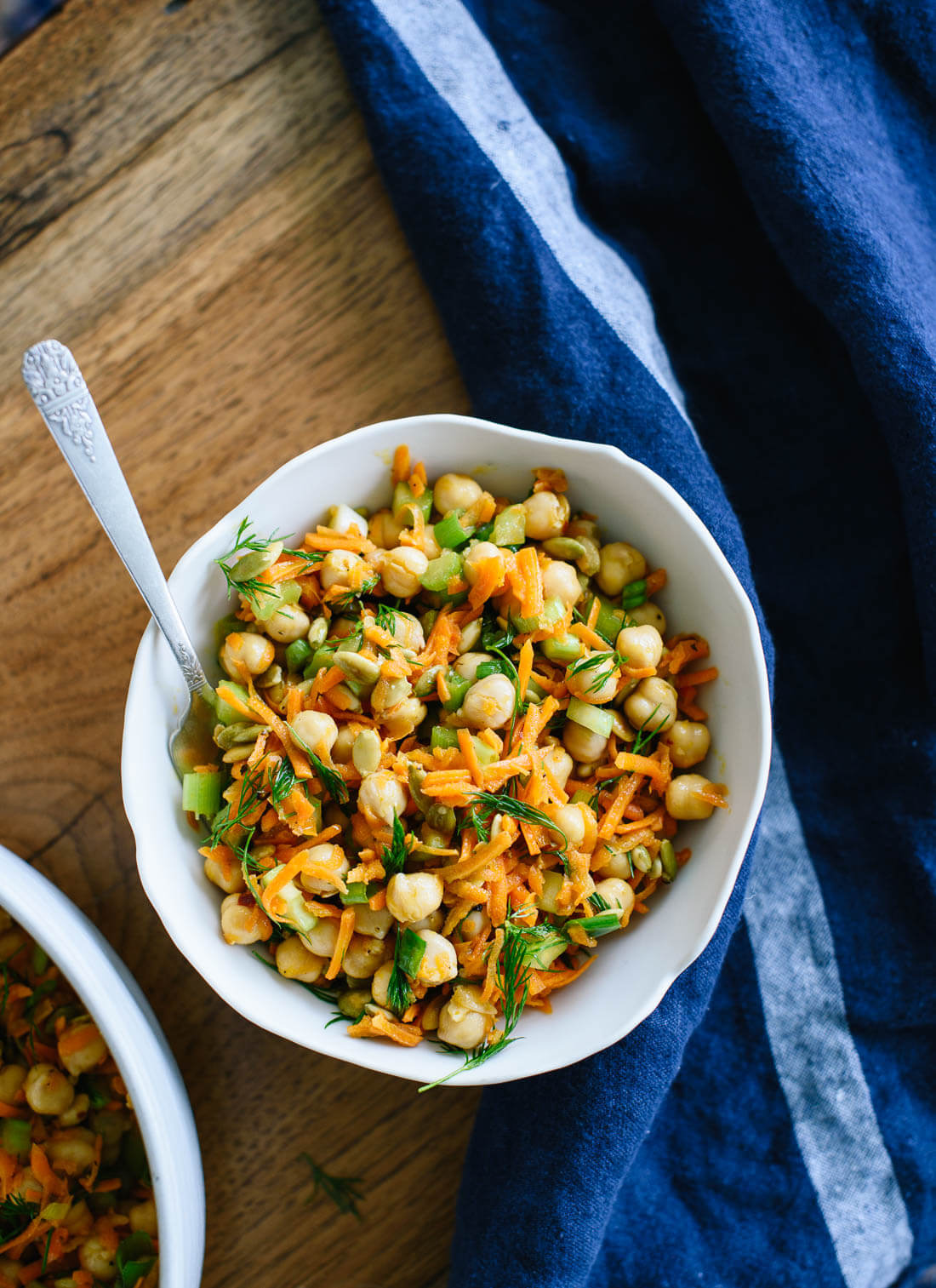 This carrot chickpea salad is healthy, crunchy and ultra satisfying! cookieandkate.com
