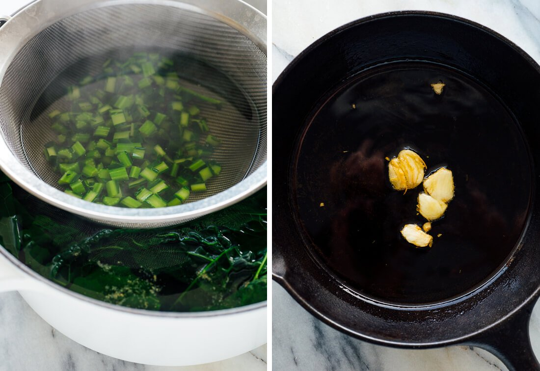 cooked kale and garlic