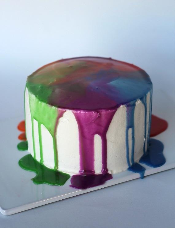 Rainbow Ganache Cake | Cookies and Cups
