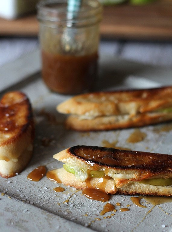 Brie and Apple Grilled Cheese with Salted Caramel Drizzle   Cookies and Cups