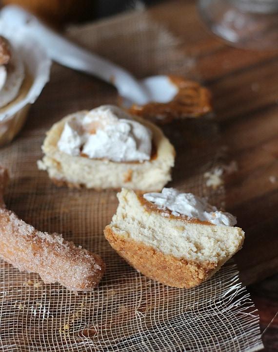 Mini Churro Cheesecakes | Cookies and Cups