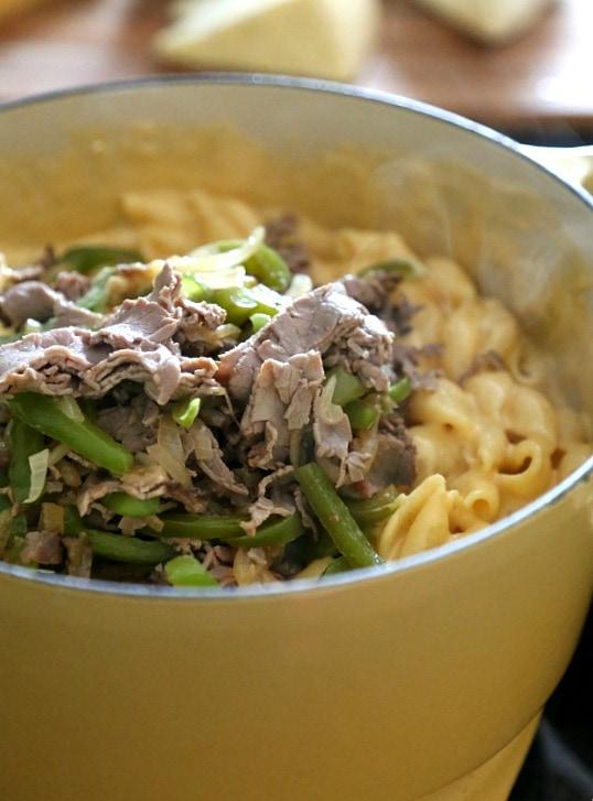 Philly Cheesesteak Mac N' Cheese   www.cookiesandcups.com