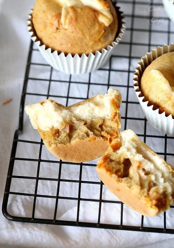 The Inside of an Inside Out Carrot Cake Muffin!