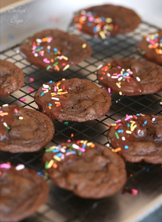 Chewy Chocolate Cookies dipped in chocolate and coated in sprinkles...super easy and adorable!