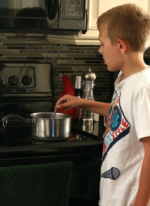 Kiddo stirring the Jello