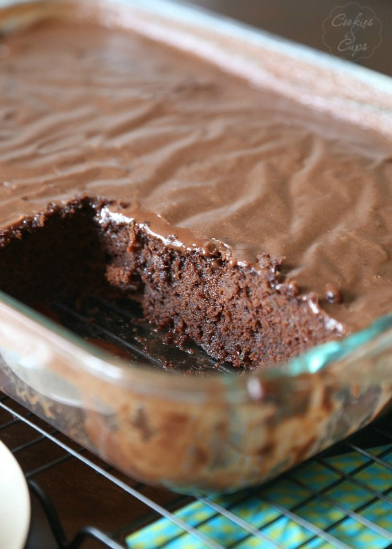 Zucchini Cake...a dense rich chocolate cake with a poured frosting..almost like a brownie, but all cake!