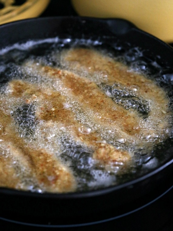 Frying the chicken tenders