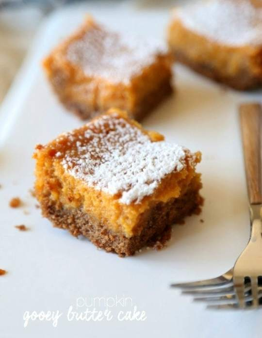 Pumpkin Gooey Butter Cake...Using a Spice cake in the crust makes this PERFECT for fall!!