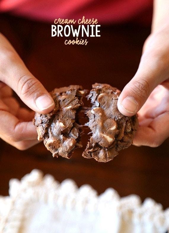 Cream Cheese Brownie Cookies...simple fudgy cookies made with brownie mix!