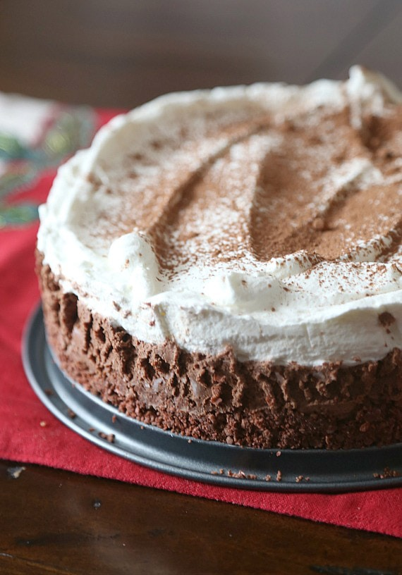 NO BAKE! Sugar Wafer Chocolate Mousse Pie...a creamy dreamy pie with a deliciously sweet crust!