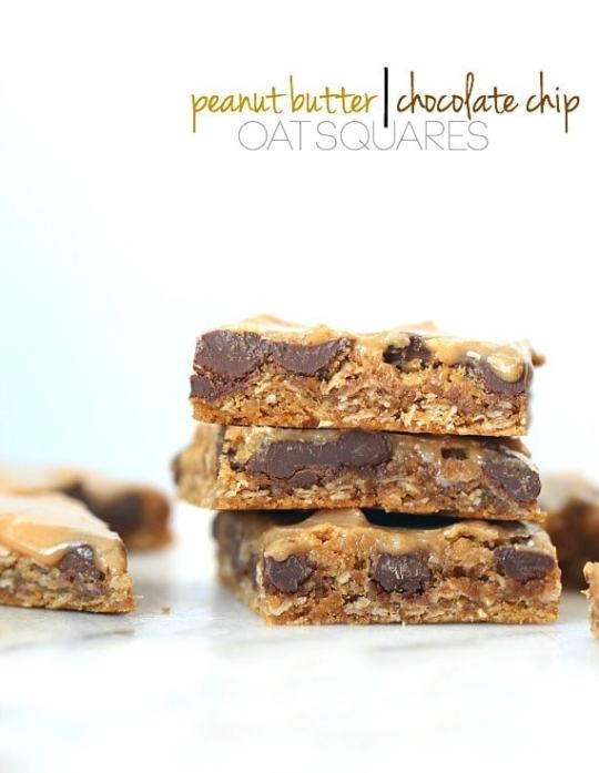 Peanut Butter/Chocolate Chip Oat Squares...super chewy, packed with peanut butter, loaded with chocolate chips and covered in a peanut butter glaze!
