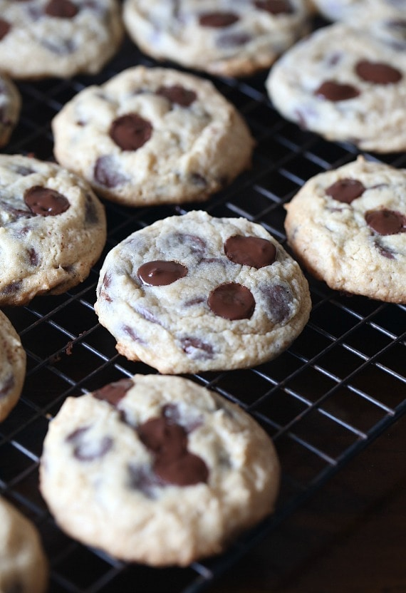 Sour Cream Chocolate Chip Cookies...adding sour cream into the cookie dough in place of some of the butter makes a super soft cookie that melts in your mouth!