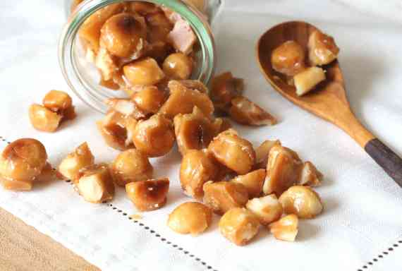 Toffee Glazed Macadamia Nuts..these are crazy addictive and SO easy, made in just minutes on the stove top!