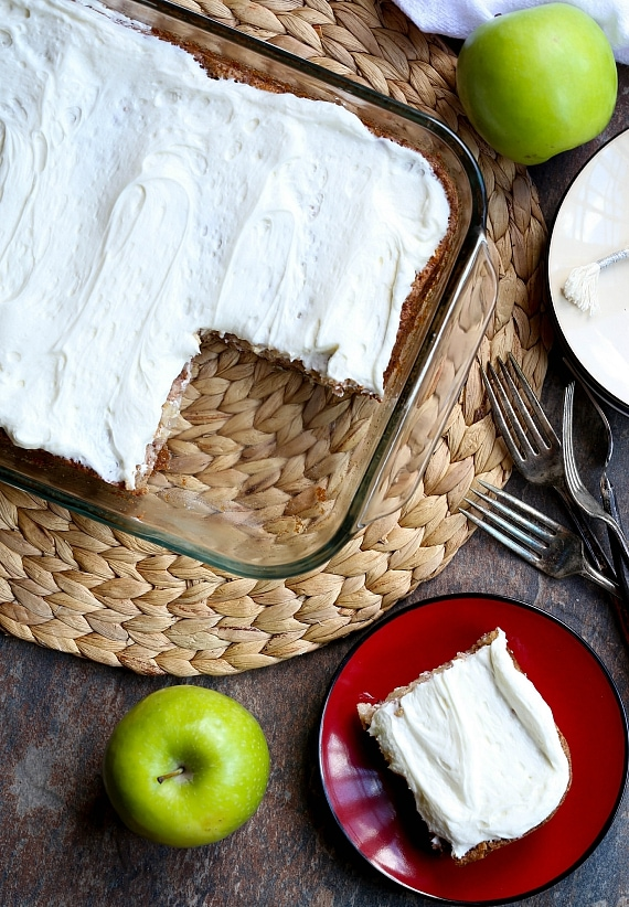 German Apple Cake with Fluffy Buttermilk Frosting