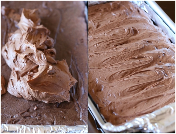 Spreading the chocolate frosting onto warm brownies is so good! The frostinf melts into the brownie making them SUPER fudgy!
