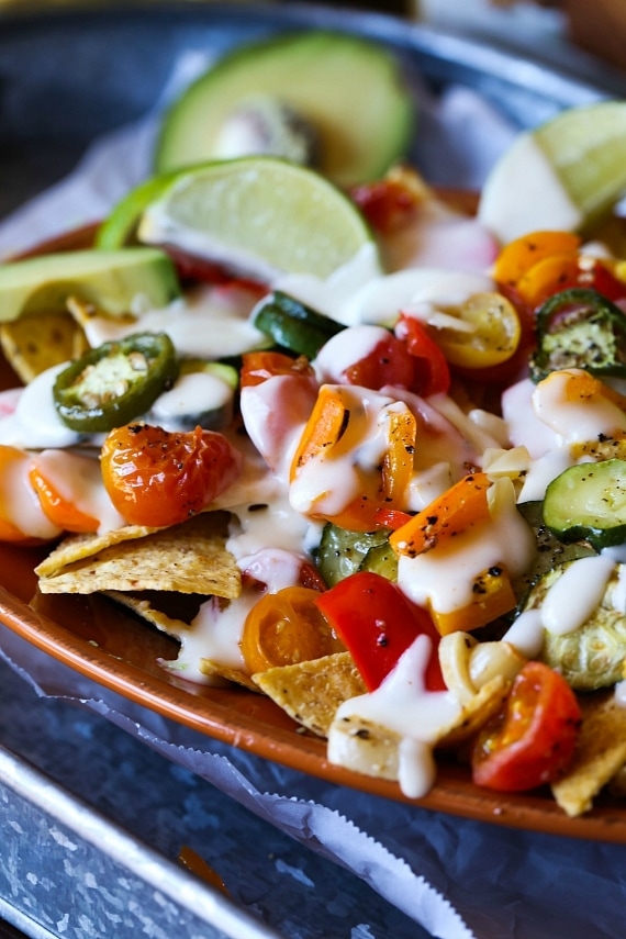 Roasted Veggie Nachos! Super Easy and perfect for Meatless Monday or a football game!