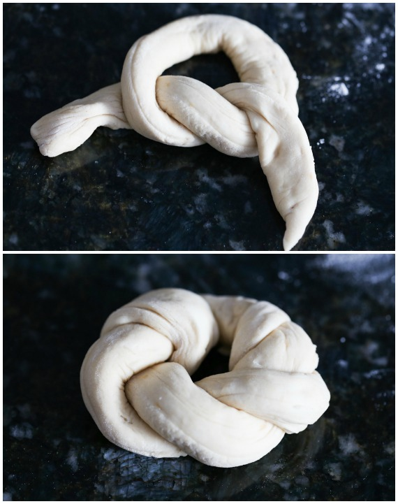 Tying garlic knots is easy.. just like trying a shoe! Loop and tuck!