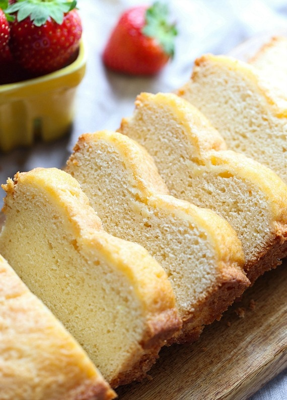 This Whipped Cream Pound cake has Reddi-wip folded into the batter and baked! It's soft and dense and delicious!