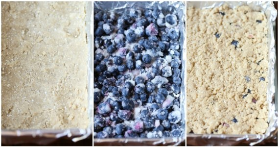 Making Blueberry Crumb Bars